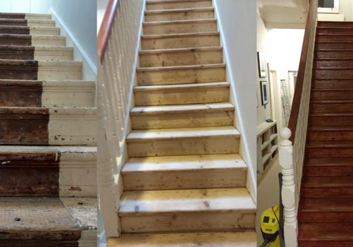 Stairs and banisters sanding